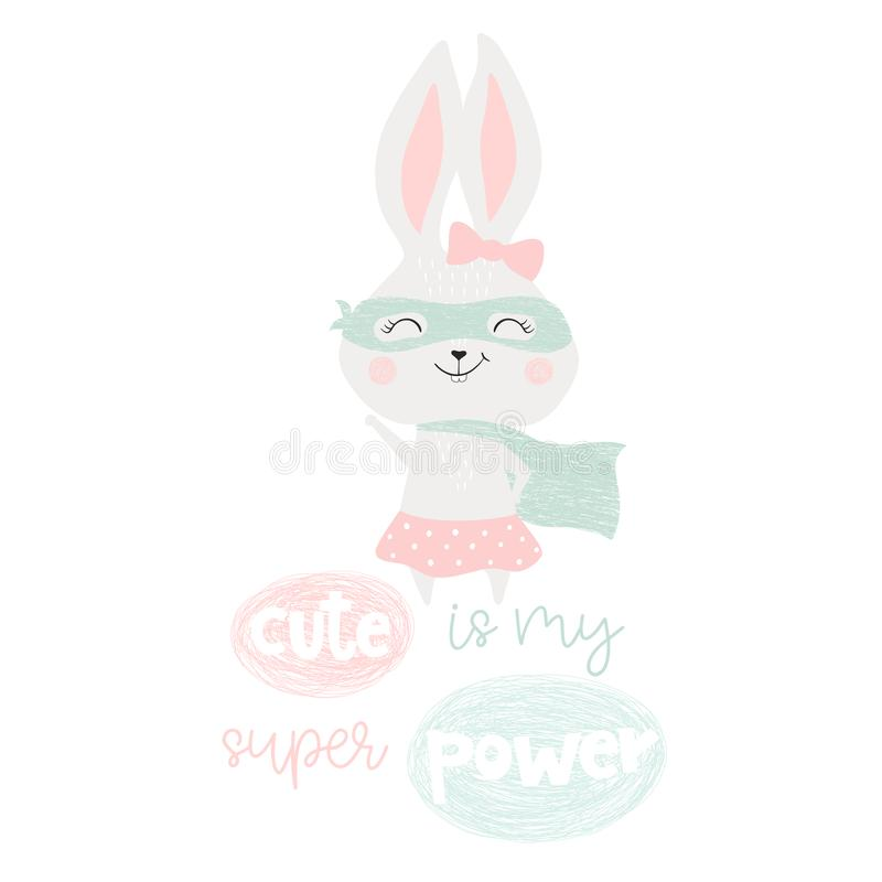 Super hero bunny. Baby print. Cute is my superpower slogan. Funny sweet rabbit with mask and cape. Fashion child vector. Cool scandinavian illustration for t stock illustration