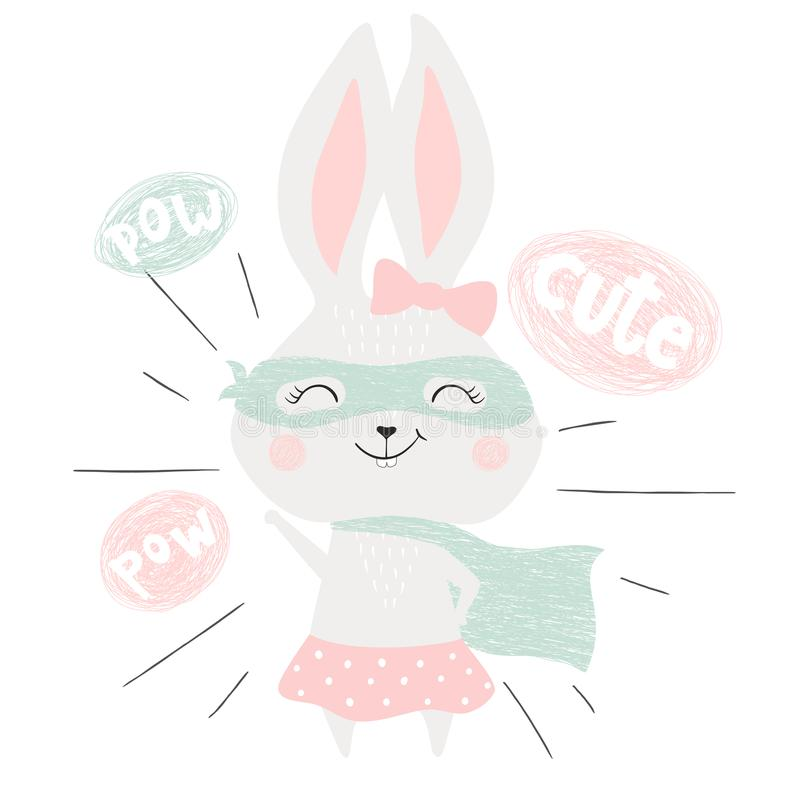 Super hero bunny royalty free illustration