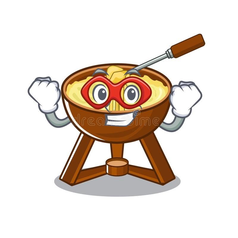 Super hero cheese fondue with in mascot shape. Vector illustration royalty free illustration