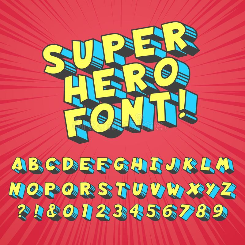 Super hero comics font. Comic graphic typography, funny supers heros alphabet and creative fonts letters symbol vector. Super hero comics font. Comic graphic royalty free illustration