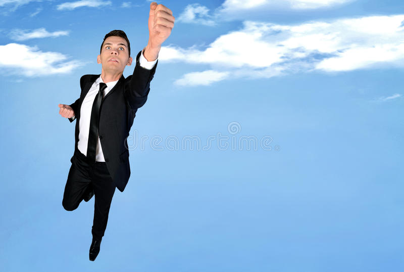 Super hero concept. Of business man fly stock image