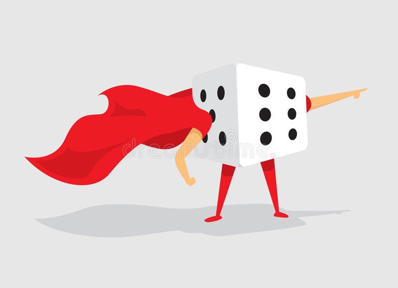 Super hero dice with cape saves the day. Cartoon illustration dice of random super hero dice with cape royalty free illustration