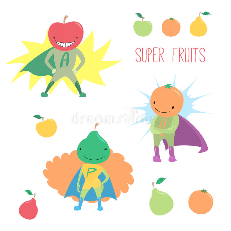 Super hero fruits. Hand drawn vector illustration of cute funny fruits, apple, orange and pear, in super hero costumes, standing proudly and smiling. Isolated stock illustration