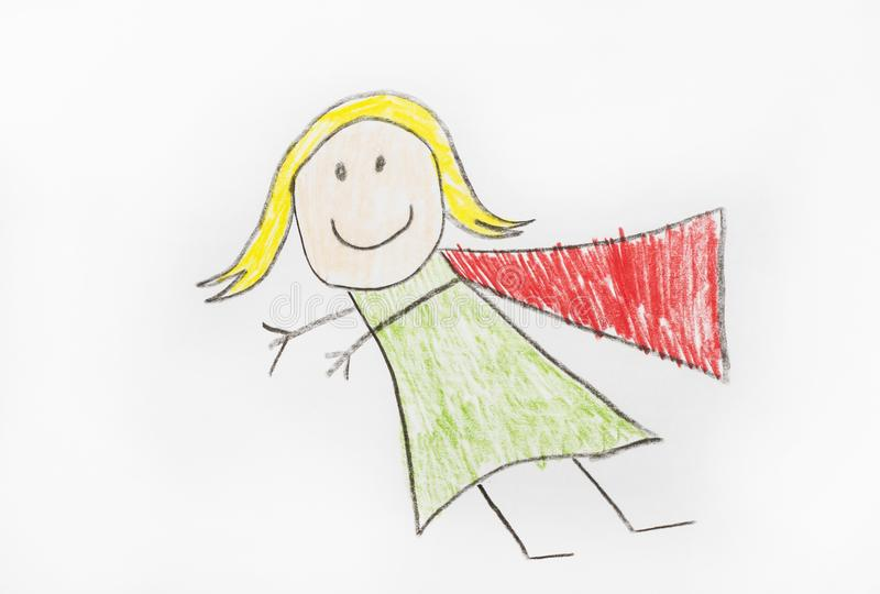 Super Hero Girl with Cape. A super hero girl drawing of a girl in cape royalty free stock photo