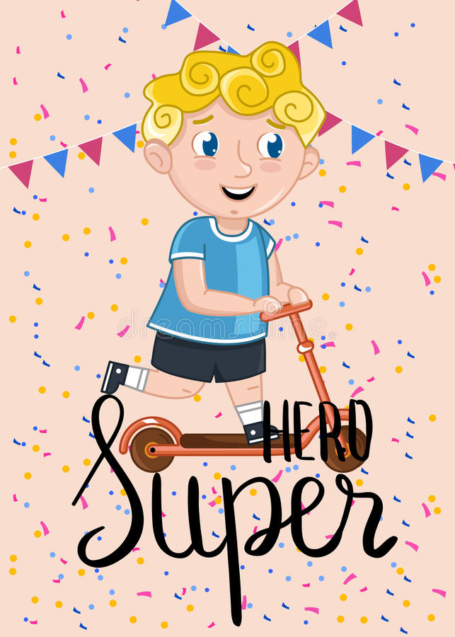 Download Super Hero Kids Postcard Template Stock Vector   Illustration Of  Anniversary, Congratulation: 98062395