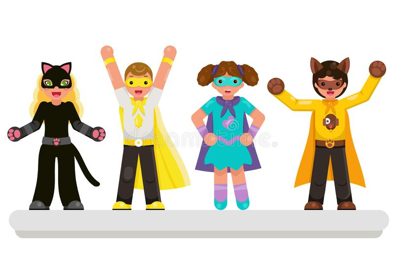 Super hero kids teens characters set flat design vector illustration. Super hero kids teens characters set design flat vector illustration royalty free illustration