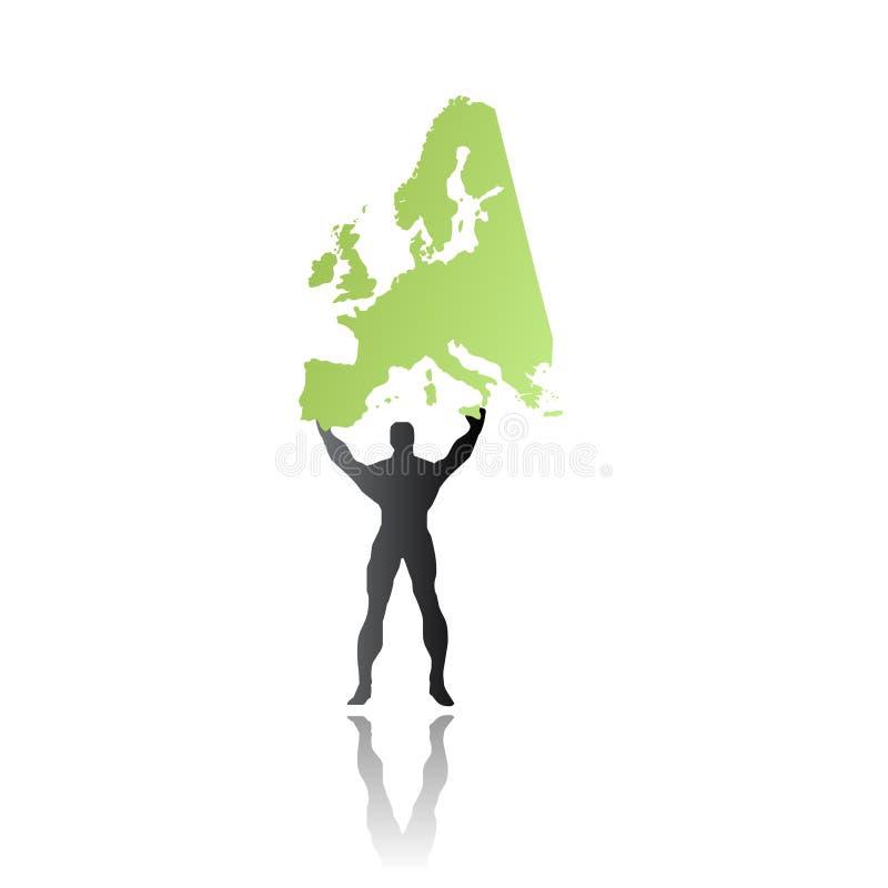 Download Super Hero Man Saving Europe Stock Vector - Illustration: 9808851