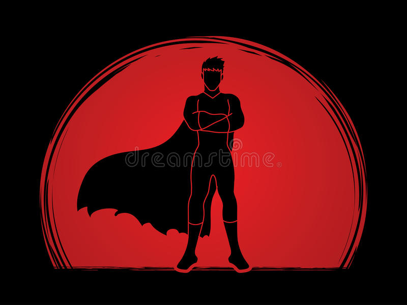 Super hero man standing. Arms across the chest graphic vector vector illustration