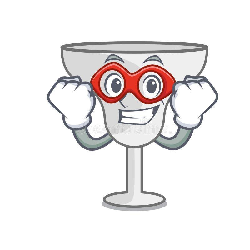 Super hero margarita glass character cartoon. Vector illustration royalty free illustration