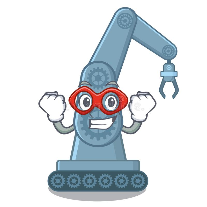 Super hero mechatronic robotic arm in mascot shape stock illustration