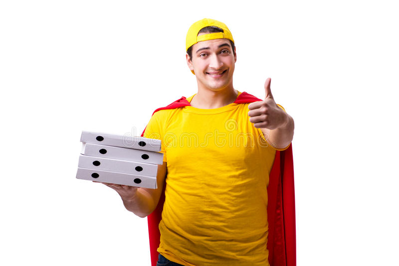 The super hero pizza delivery guy isolated on white. Super hero pizza delivery guy isolated on white royalty free stock photos
