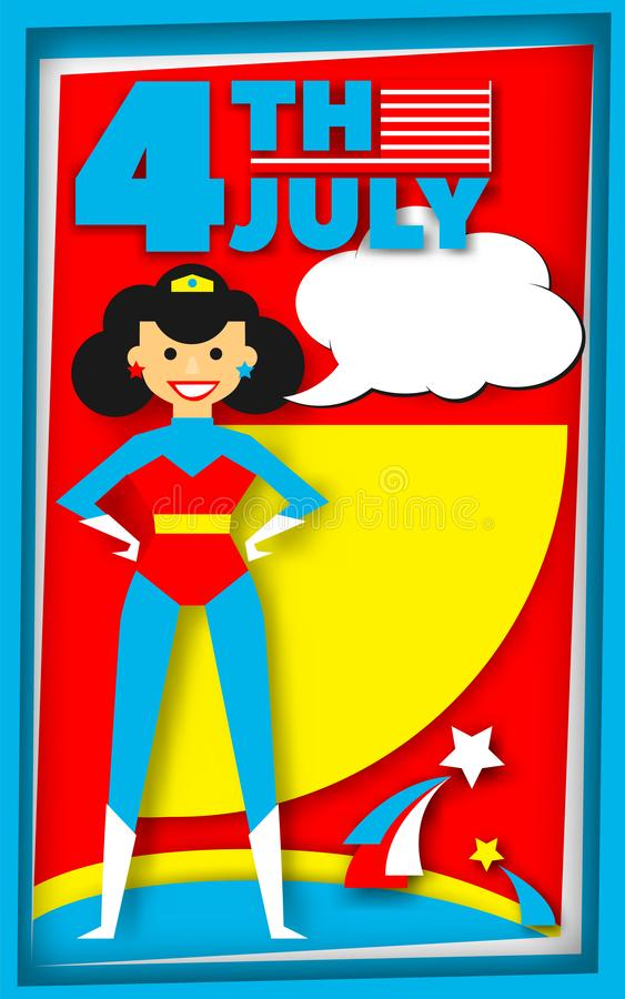 Super hero poster in retro style for July 4 vector illustration