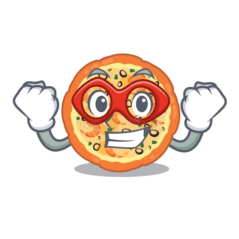 Super hero seafood pizza isolated with in cartoon vector illustration