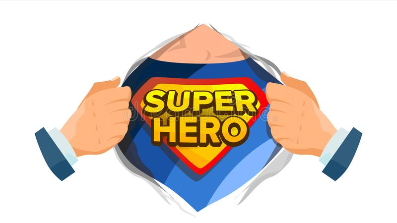 Super Hero Sign Vector. Superhero Open Shirt To Reveal Costume Underneath With Shield Badge. Isolated Flat Cartoon Comic stock illustration