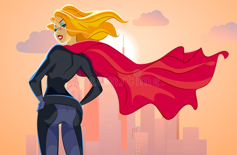 Super hero woman looks at an evening city landscape royalty free illustration