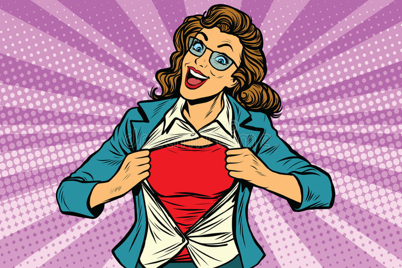 Super hero woman ripping shirt royalty free illustration