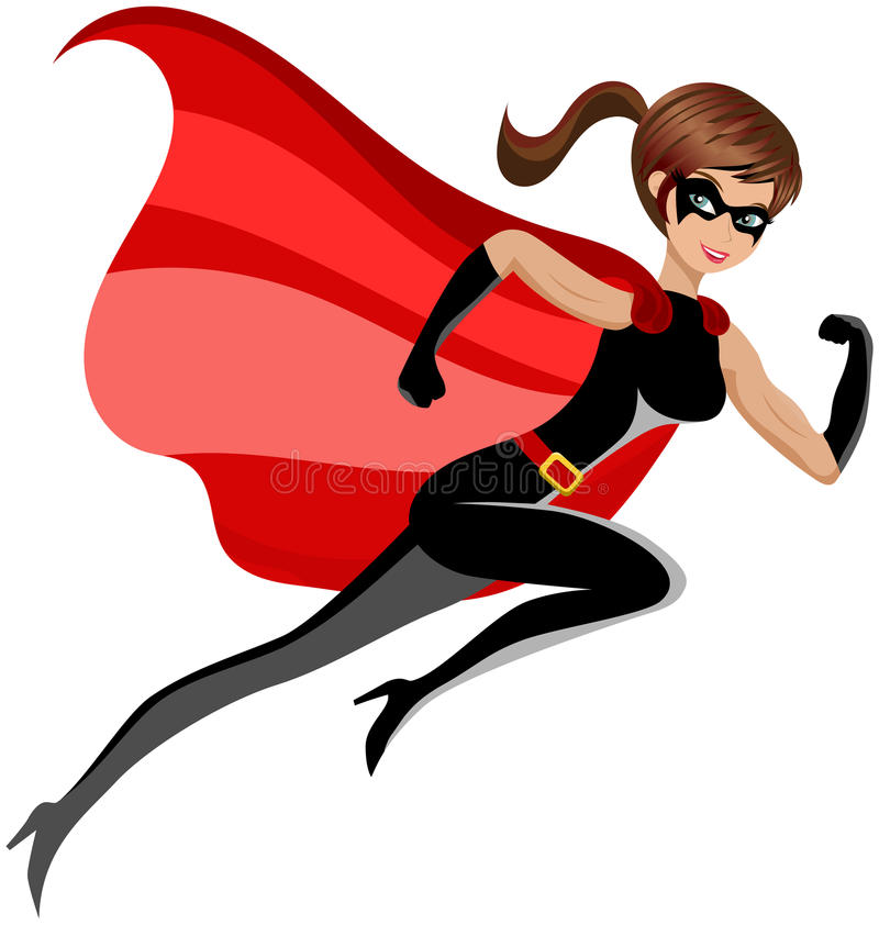 Free Super Hero Woman Running Flying Isolated Royalty Free Stock Photography - 41449267