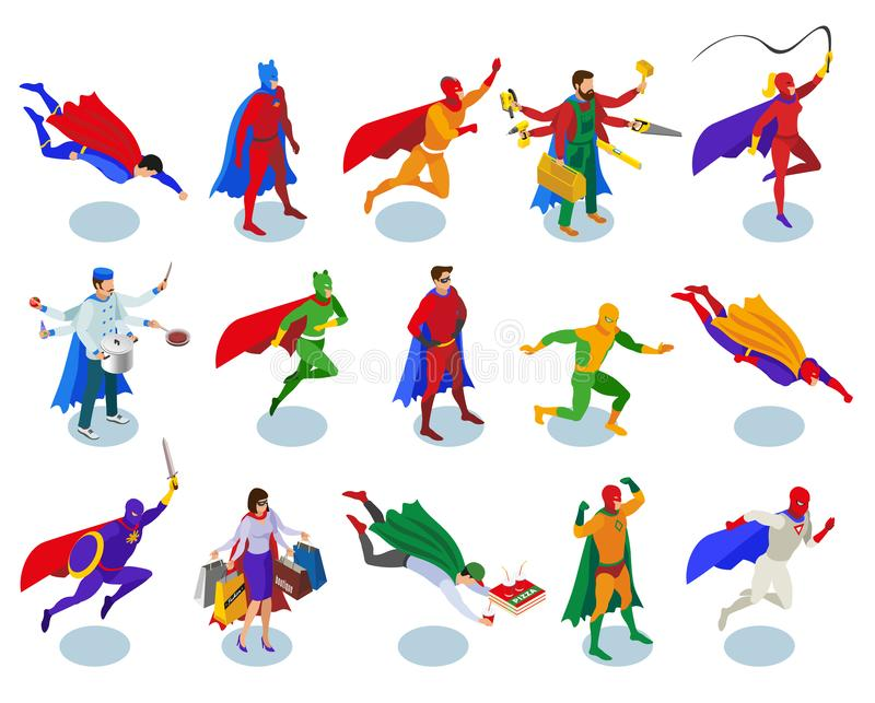 Super Heroes Isometric People. Super heroes with colored cape and mask in various activity isometric people isolated vector illustration royalty free illustration