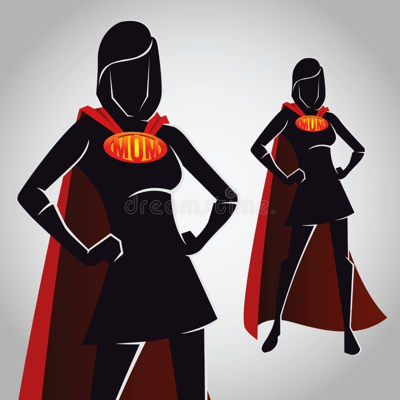Super het Cijfersilhouet van de Mamma Vrouwelijk Held royalty-vrije illustratie