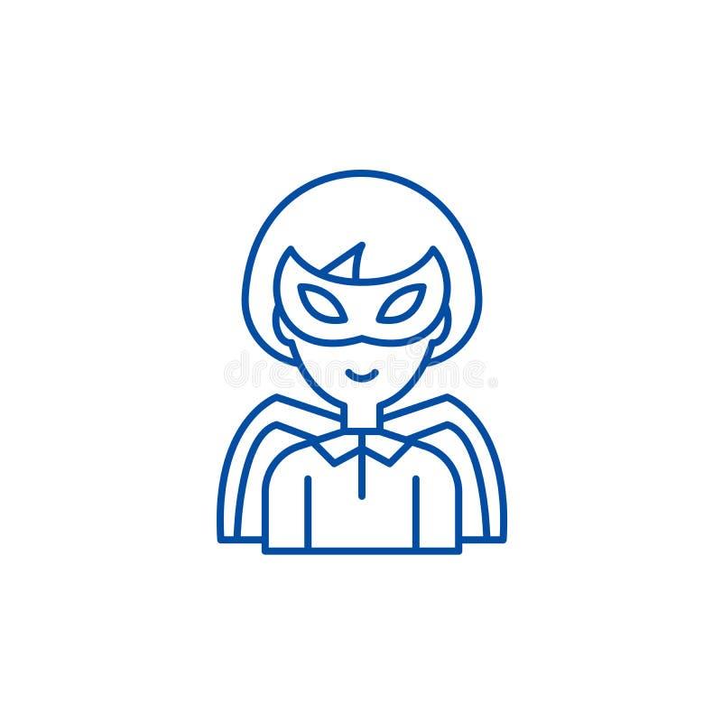 Super het pictogramconcept van de heldenlijn Super helden vlak vectorsymbool, teken, overzichtsillustratie royalty-vrije illustratie