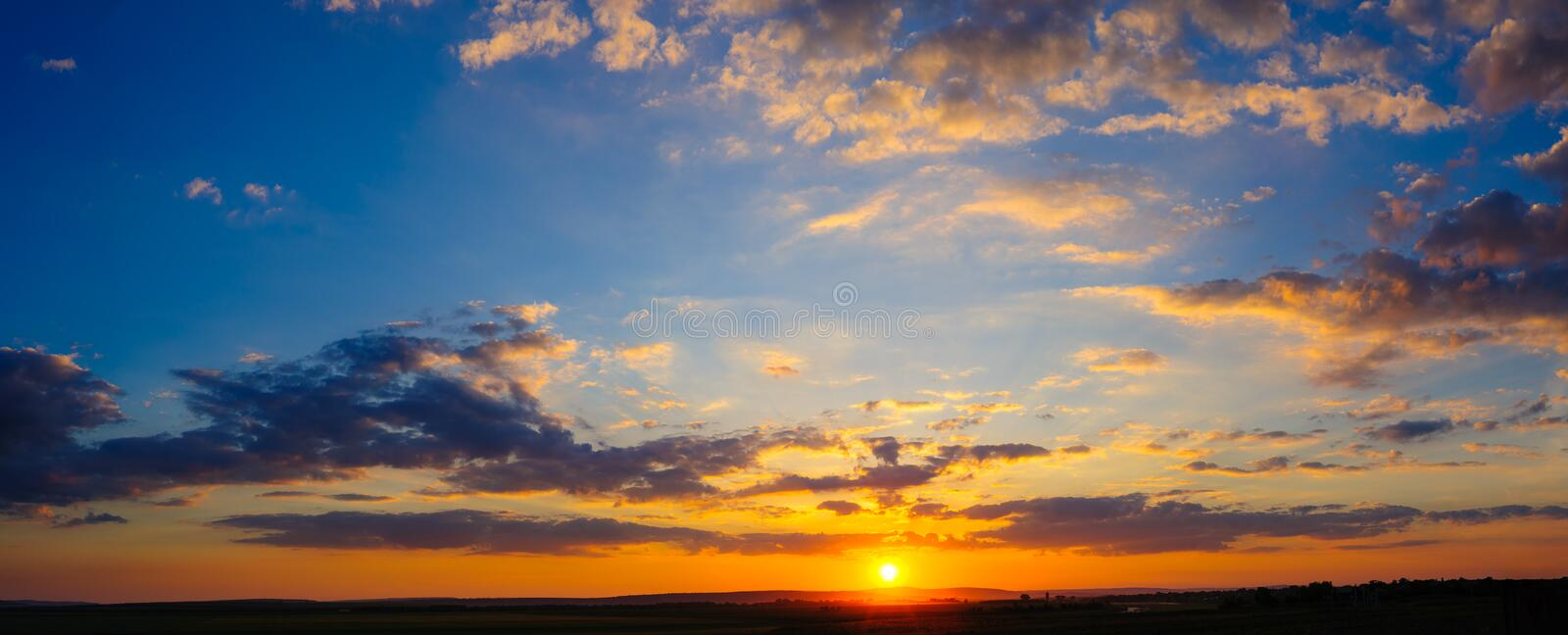 Super high resolution colorful dramatic sunset stock image