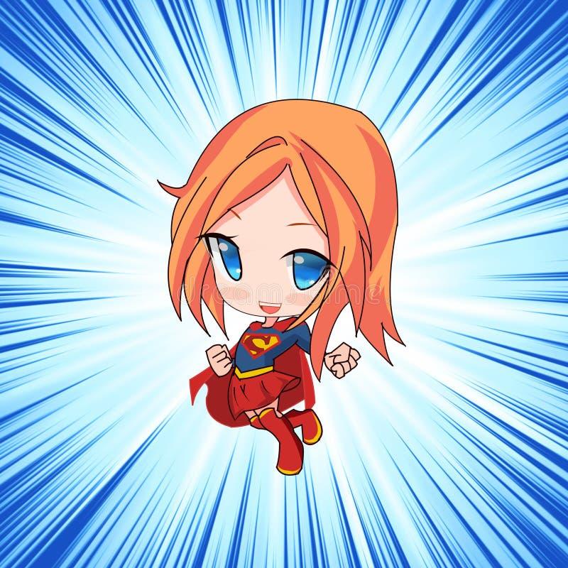 Super-hjälte-flicka med färgstark bakgrund royaltyfri bild