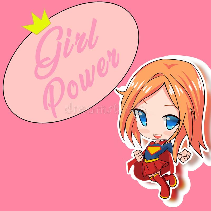 Super-hjälte-flicka med färgstark bakgrund - kraften hos flickor arkivfoto