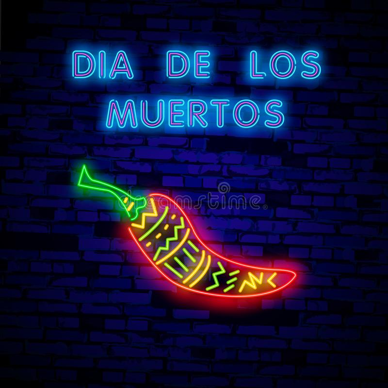 Super hot pepper- Neon Sign Vector. Super hot pepper - Badge in neon style on brick wall background, design element vector illustration