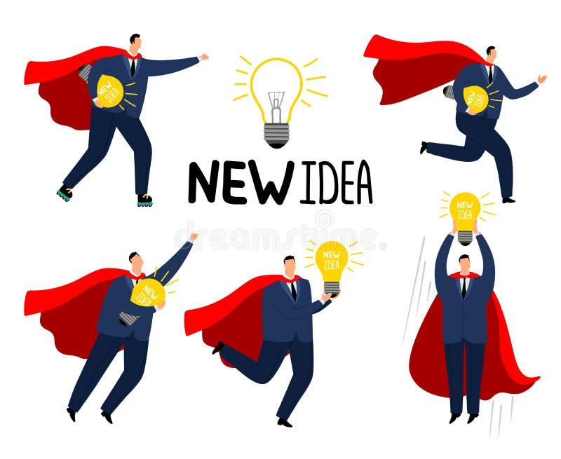 Super ideezakenman Moedige sterke bedrijfsmensensuperhero in rode kaap met nieuw idee, crisisbeheerbeeldverhaal royalty-vrije illustratie