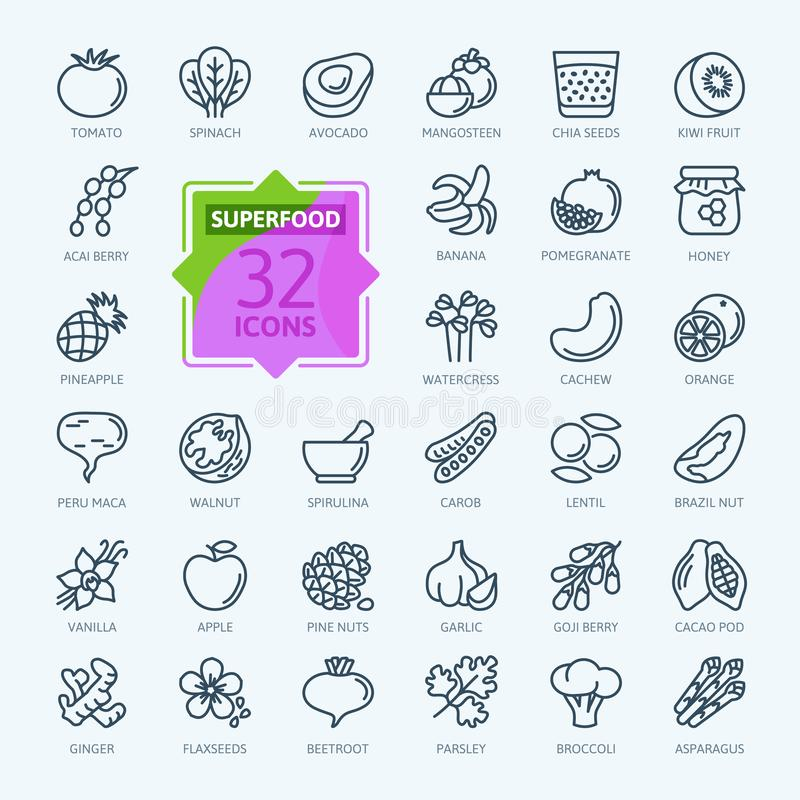 Super jedzenie - minimalny cienieje kreskowego sieci ikony set Kontur ikony inkasowe royalty ilustracja