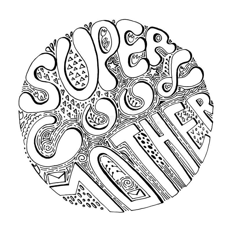 Super kühle Mutter - schwarze Linie Beschriftungsphrase im Kreis Text f?r Gru?karten, Muttertagesplakate, Fahnen, Drucke lizenzfreie abbildung