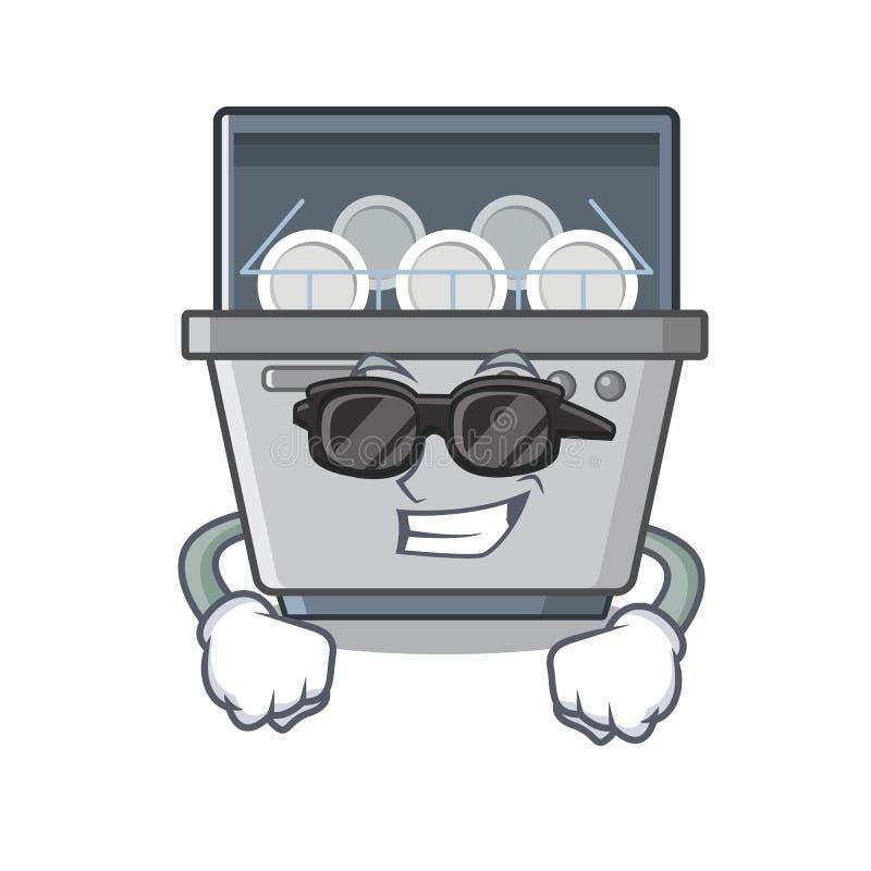 Super kühle Spülmaschinenmaschine lokalisiert in der Karikatur lizenzfreie abbildung