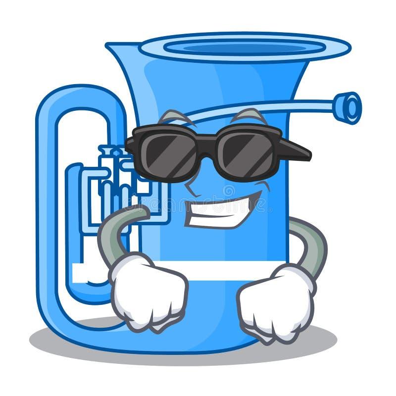 Super kühle Tuba lokalisiert mit im Charakter vektor abbildung