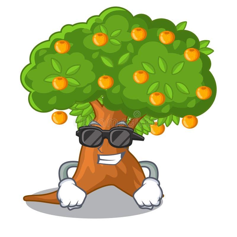 Super kühler Orangenbaum in der Zeichenform lizenzfreie abbildung