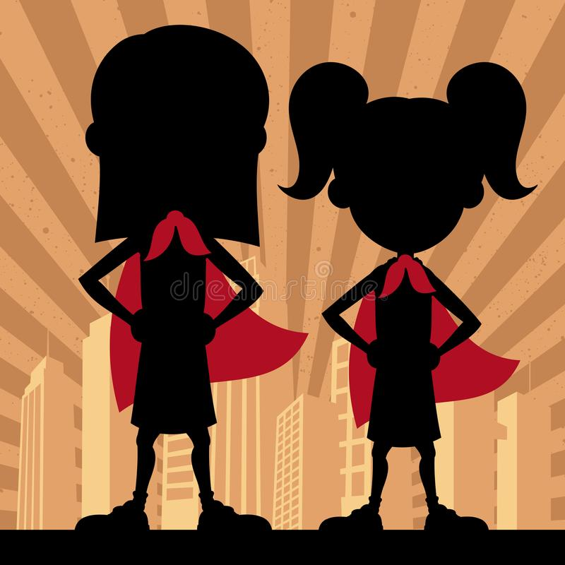 Super Kids 2 Girls vector illustration