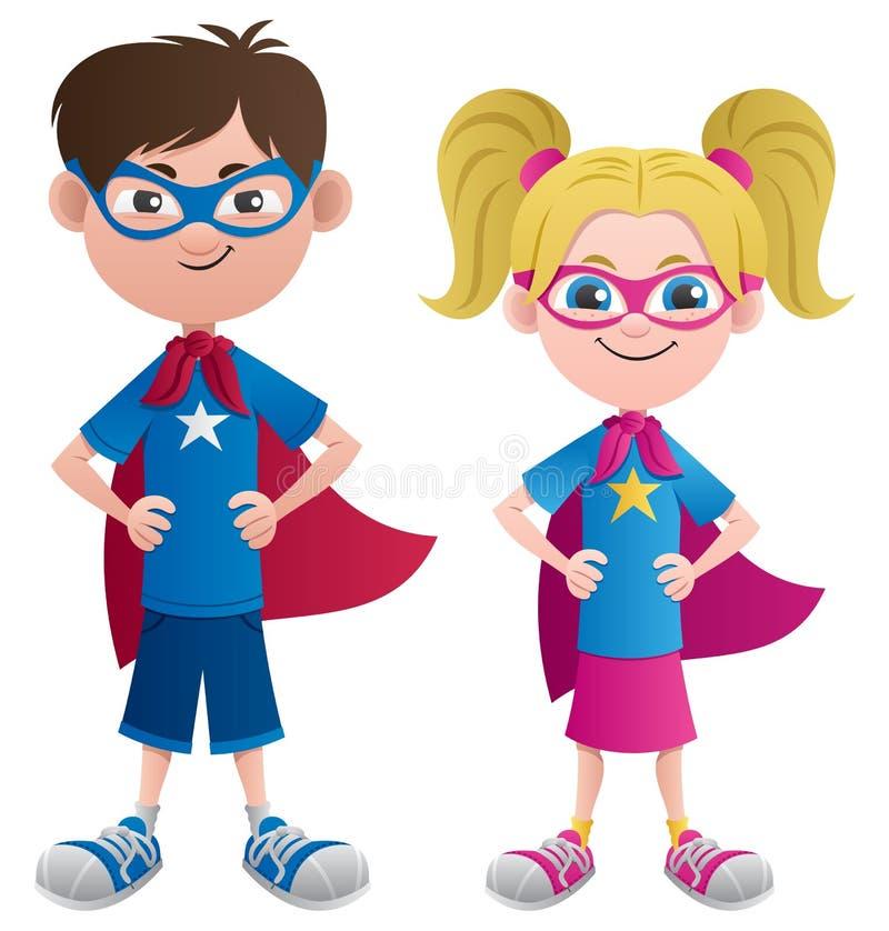 Super Kids. Illustration of 2 super kids: Super boy and super girl. No transparency used. Basic (linear) gradients