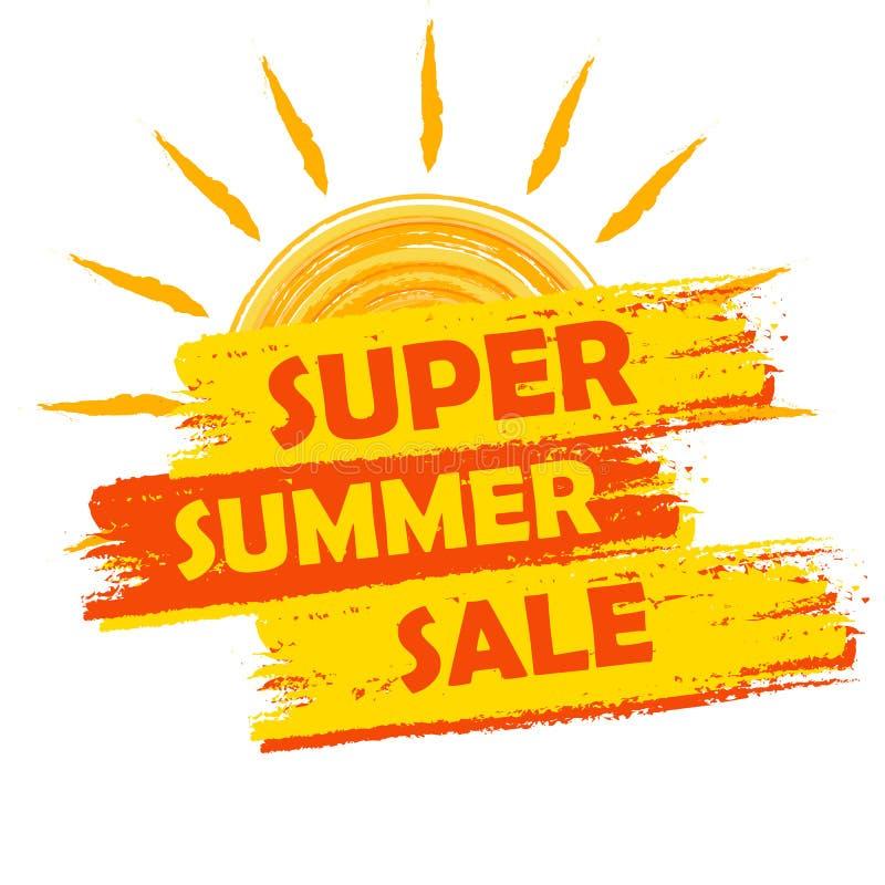 Super lato sprzedaż z słońce znakiem, kolorem żółtym i pomarańcze rysującą etykietką, ilustracja wektor