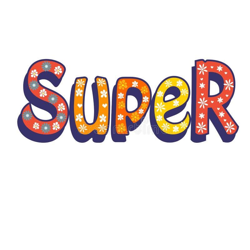 super lettering Tekst voor kleren stock illustratie