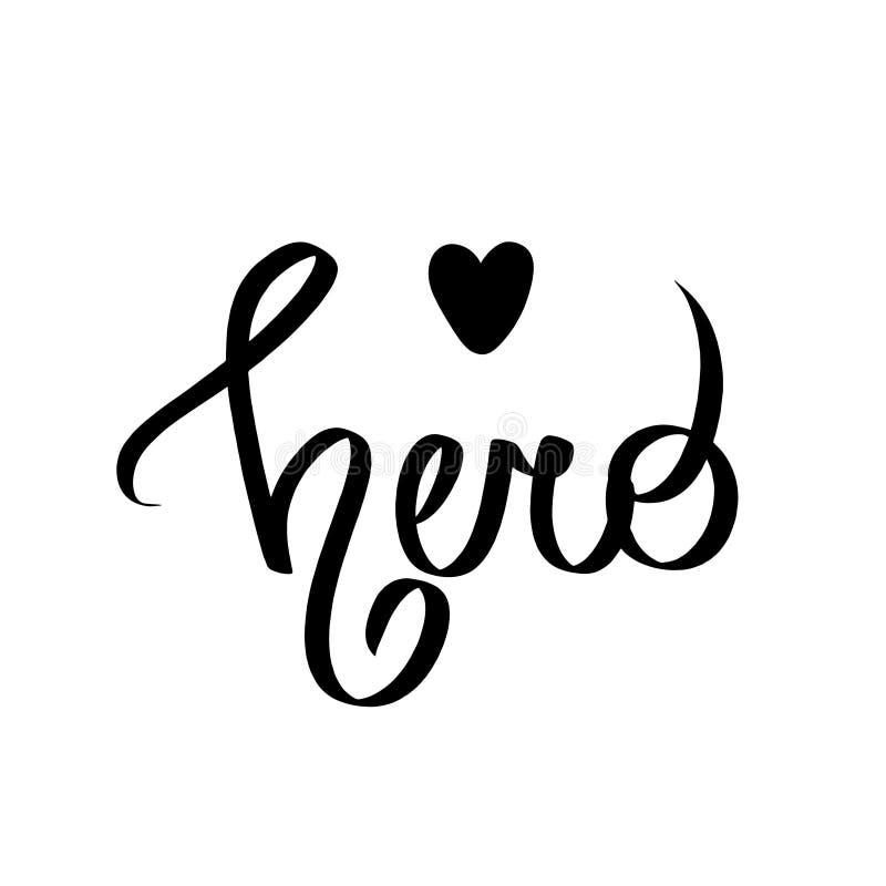 Super leuke Held -, pretjonge geitjes die met zwart hart van letters voorzien Perfectioneer voor babydrukken, kinderdagverblijfaf royalty-vrije illustratie
