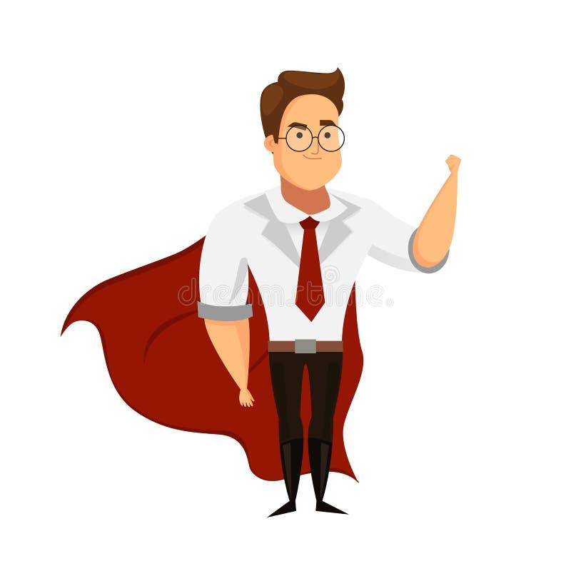 Super lider lub super biznesmena charakter na białym tle ilustracji