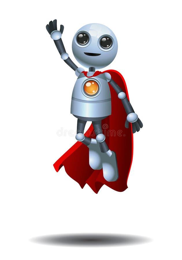 Super little robot flying on isolated white background royalty free illustration
