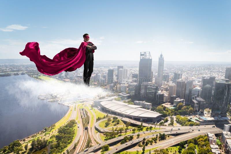 Super mężczyzna w niebie zdjęcie stock