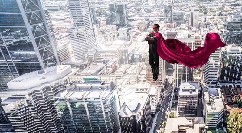 Super mężczyzna w niebie fotografia stock