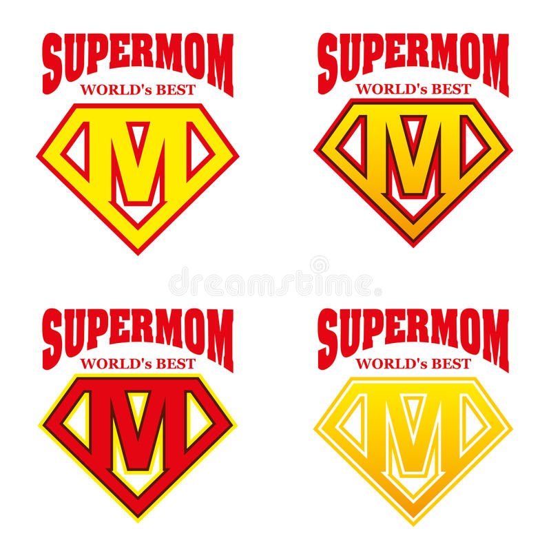 Super mama bohatera loga Supehero listy royalty ilustracja
