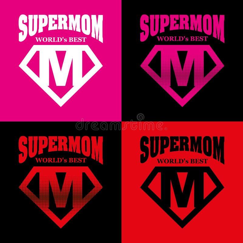 Super mama bohatera loga Supehero listy ilustracji