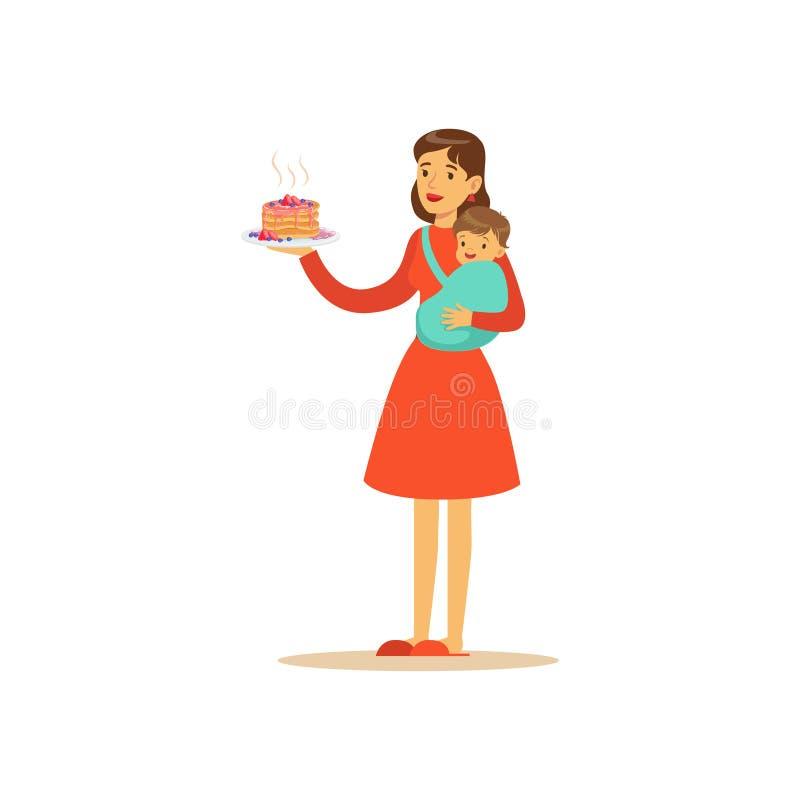 Super mama charakter z dzieckiem, trzyma tort ilustracja wektor