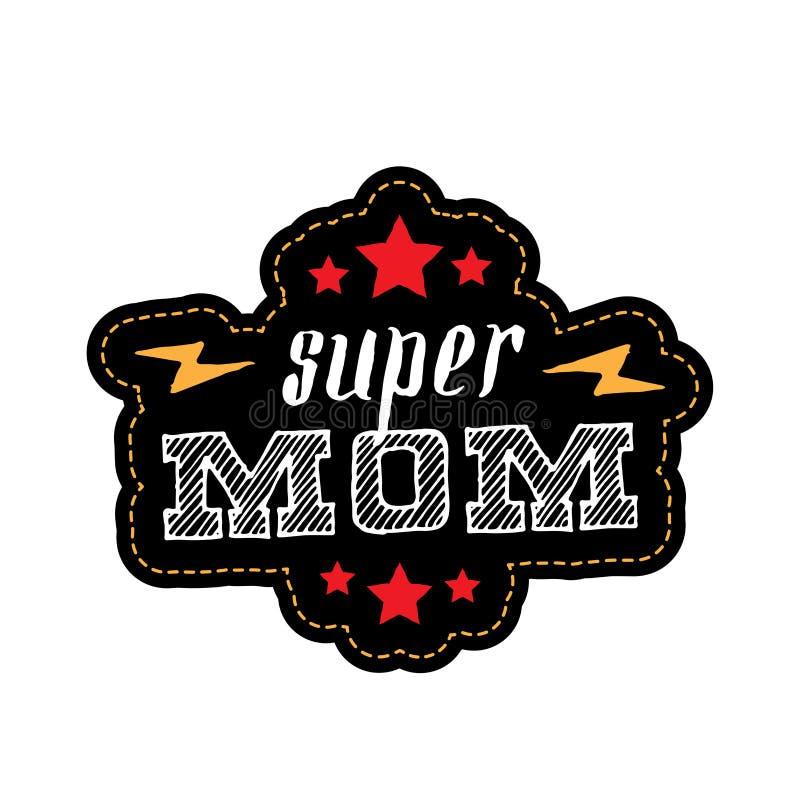 Super mama Druk dla koszulki z literowaniem, gwiazdami i błyskawicą, royalty ilustracja