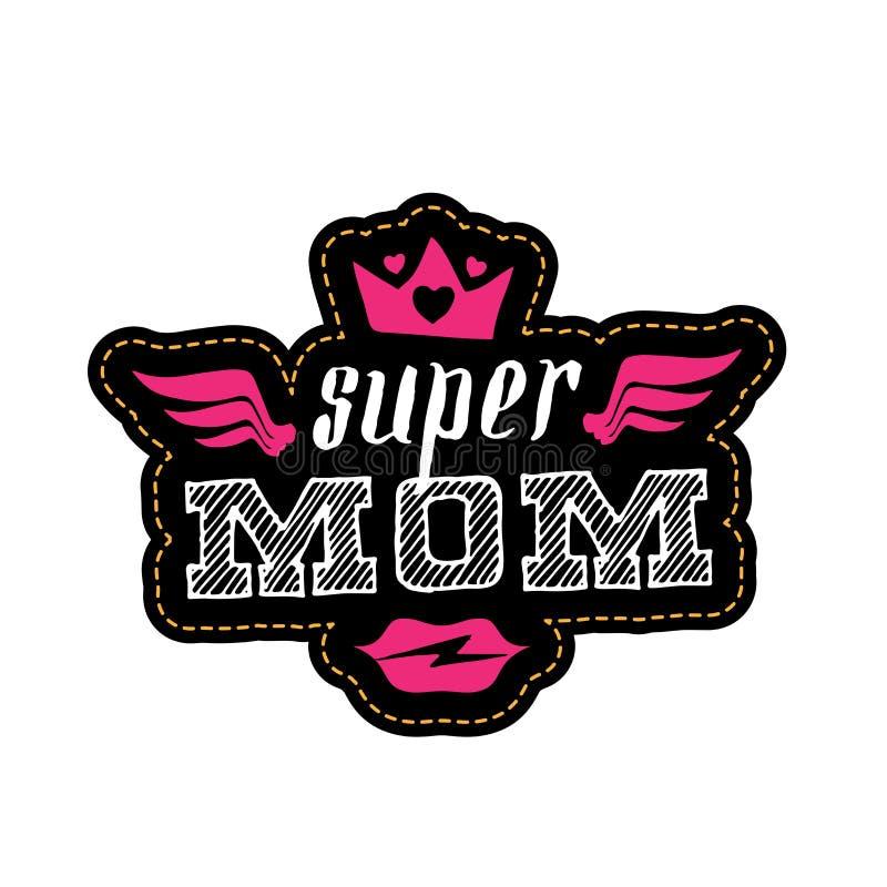 Super mama Druk dla koszulki z wargami Szcz??liwy Macierzysty ` s dnia kartka z pozdrowieniami ilustracji