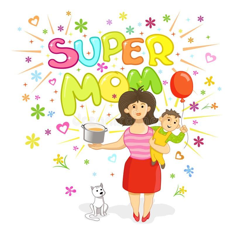 Super mama - kartka z pozdrowieniami dla matka dnia ilustracja wektor