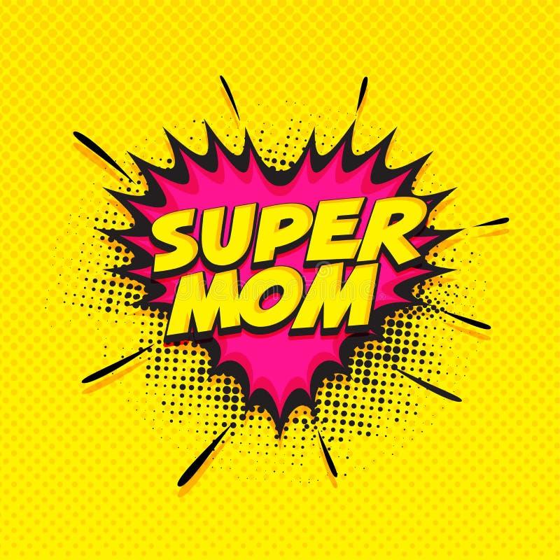 Super mama tekst na różowym i żółtym tle szczęśliwe dzień matki royalty ilustracja